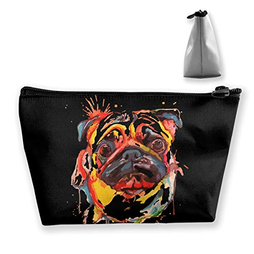 Wodehous Adonis Oil Painting Adorable Pet Dogs Pug Cosmetic Bags Portable Travel Makeup Pouch Toiletry Organizer