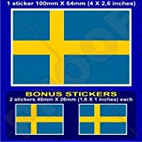 "SWEDEN Swedish Flag Sverige 4"" (100mm) Vinyl Bumper Sticker, Decal x1 +2 BONUS"