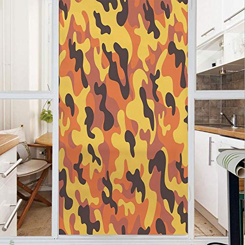 Decorative Window Film,No Glue Frosted Privacy Film,Stained Glass Door Film,Lively Colors Retro Style Camouflage Defense Hidden Soldier Modern Artsy,for Home & Office,23.6In. by 59In Yellow Orange Dri