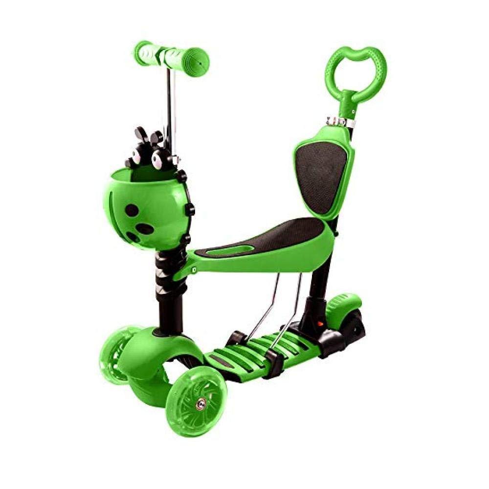 Kinder Roller Balance Auto Dreirad 5 In 1 Griff Höhe Einstellbare Bremse PU Riesenrad 3 Räder Abnehmbare Durable Spielzeugauto Outdoor Sport Multifunktionale Alter 2-10 Mädchen,Grün
