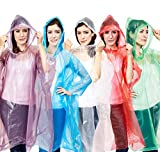 Juvale Rain Ponchos for Adults - 10 Pack Disposable Emergency for Women, Men (5 Colors)