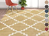 Harbor Trellis Gold Yellow Moroccan Lattice Modern Geometric 9 x 13 (9'3'' x 12'6'') Area Rug Thick Soft Plush Shed Free