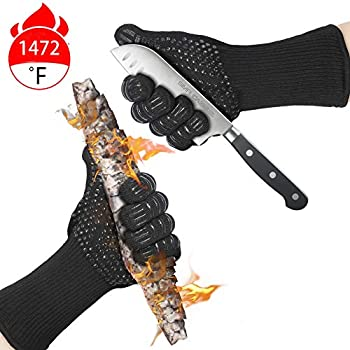 Misphly BBQ Grill Gloves,1472℉ Heat Resistant Oven Mitt Gloves,Oven Silicone Glove Fireproof for Smoker Baking,Extra Long Sleeves to Prevent Forearm Burns Grilling Gloves for Cooking (Black)
