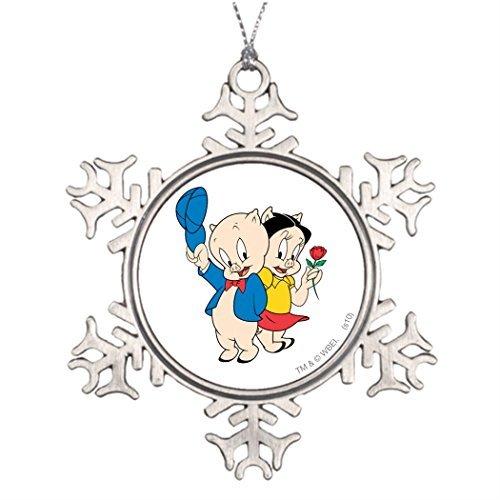 (Valerie Tree Branch Decoration Porky Pig and Petunia Photo Frame Christmas Snowflake Ornaments Porky Pig)
