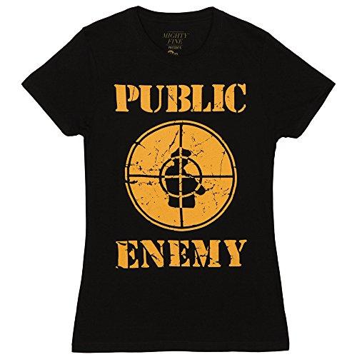 (Public Enemy Distressed Logo Juniors T-shirt - Black (Small))