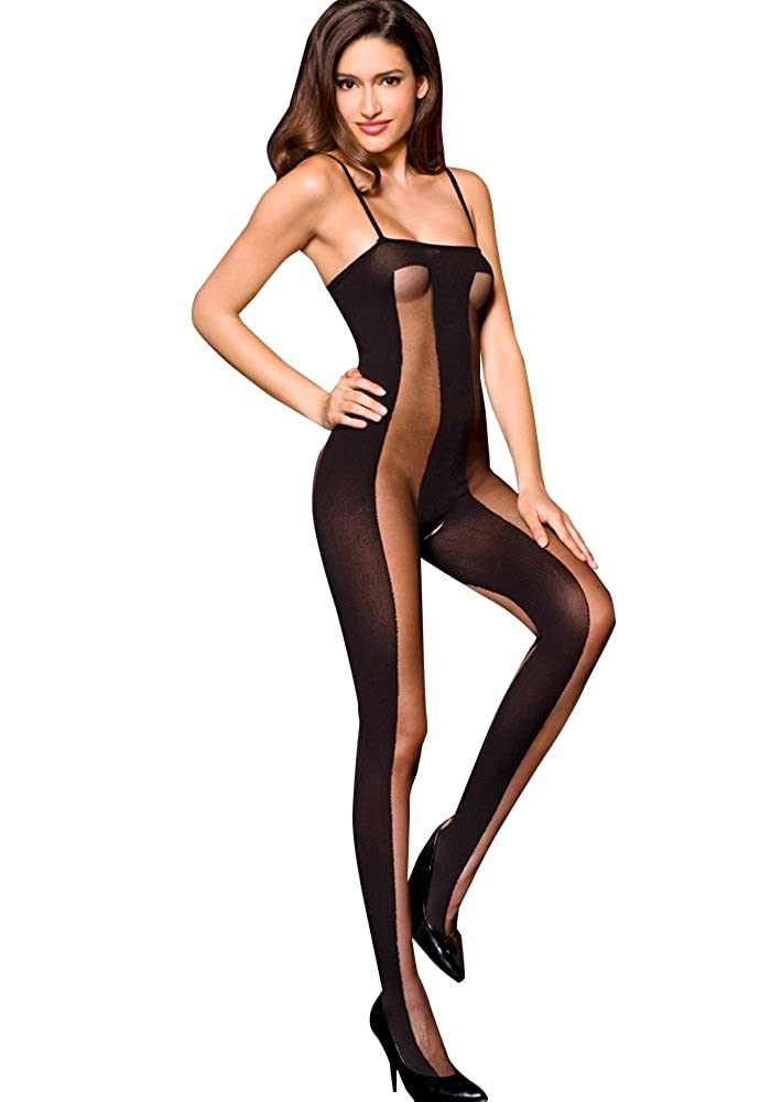 MUSIC LEGS Women's Sheer and Opaque Crotchless Bodystocking, Black, One Size MUSIC LEGS Women' s Lingerie 1465
