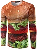 What Lees Unisex Work Out Long Sleeve Colorful Hamburger Print Shirts Crew Neck Pullover Sweatshirts B057-39-L