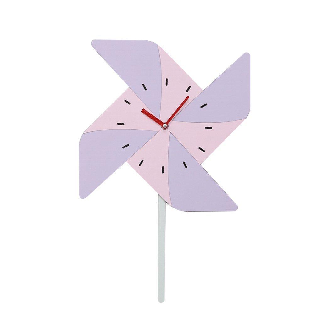 Unbekannt Wanduhr für Kinder stumm Windmühle Modellierung nordischen Stil Kinderzimmer Kindergarten Haushalt Cartoon Mode schöne Dekoration einfach UOMUN (Farbe : Pink)