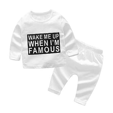 da8c006f6 Domybest 2pcs Unisex Baby Autumn Clothes Set Letters Long Sleeve Tops +  Pants(0-3m): Amazon.co.uk: Clothing
