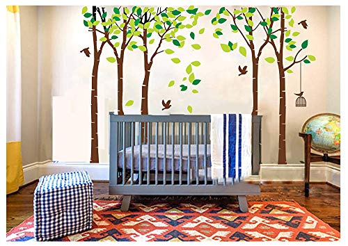 LUCKKYY Large Five Tree Wall Decal Tree Wall Sticker Removable Vinyl Mural Art Wall Stickers Kids Room Nursery Bedroom Living Room Decoration (103.9x70.9)(Brown)