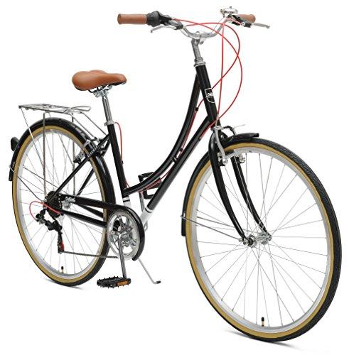 Retrospec by Westridge Critical Cycles Beaumont-7 Seven Speed Lady's Urban City Commuter Bike, Black, 44cm (Medium/Large)
