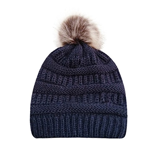 PASATO Sale!Women Winter Warm Crochet Knit Faux Fur Pom Pom Beanie Hat Cap hat for Women Winter Fashion(Navy,Free Size)]()