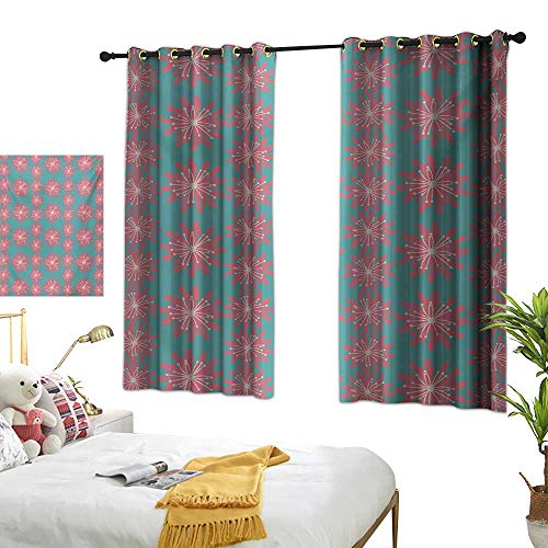 Bedroom Curtains W63 x L63 Outdoor,Germinating Plants Wildflowers Twigs Sprouts Buds Lively Rustic Patio Print,Teal Pink White Room Darkening Curtains for Childrens Living Room Bedroom