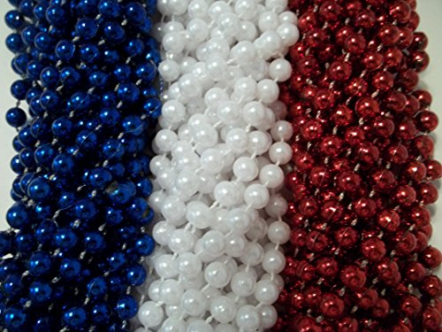 144 Red White Blue Memorial Day Mardi Gras Beads Necklaces Party Favors Huge lot by Party Supplies