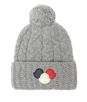 Wiberlux Moncler Men's Triple Logo Patch Knit Beanie