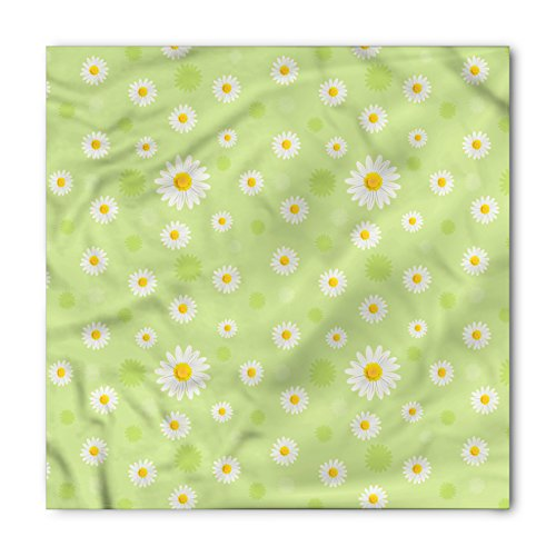 Ambesonne Unisex Bandana, Yellow and Green Spring Daisy, Pistachio Green
