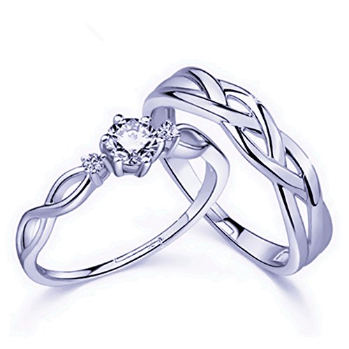 Huir Fashion Couple Ring Bands Jewelry, Adjustable Knots Style Lovers Promise Ring Set for Him and (Celtic Wedding Ring Sets)