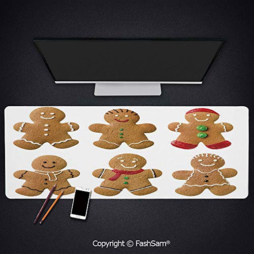 (Personalized Large Mouse Pad Vivid Homemade Biscuits Sugary Xmas Treats Sweet Tasty Pastry Decorative Keyboard Pad for Computer(W23.6xL15.7))