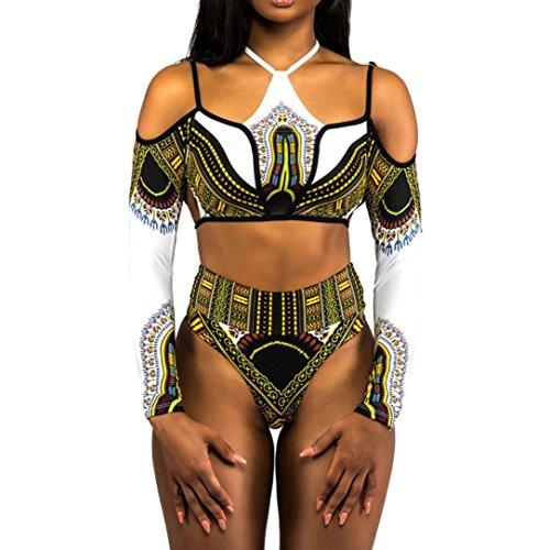 Price comparison product image ManxiVoo African Dashiki Women Swimsuits Halter Long Sleeves Bathing Suit Monokini Bikini Beachwear Two Pieces (L, White)