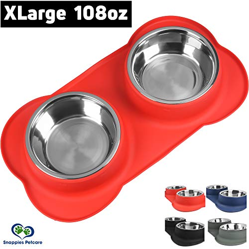 Large Dog Bowl - 2 Large Capacity 54oz (108oz Total) Removable Stainless Steel Bowls Set in a Stylish No Mess, No Spill, Non Skid, Silicone Mat. Food & Water Bowl for Medium to Large Dogs (Red)