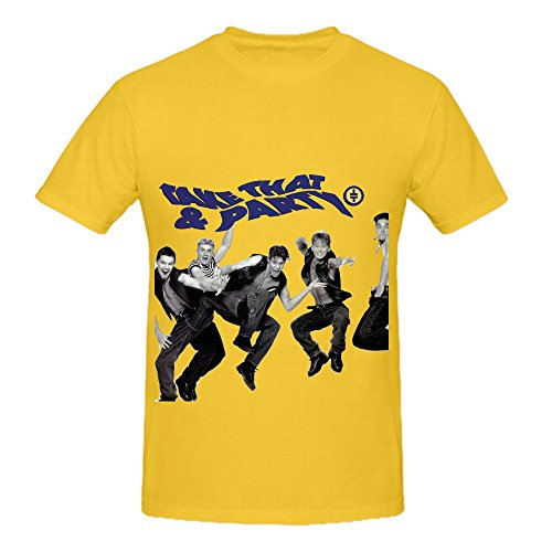 Take That Party Tour 80s Men Crew Neck Cool Shirts Yellow (What To Wear To 80s Party)