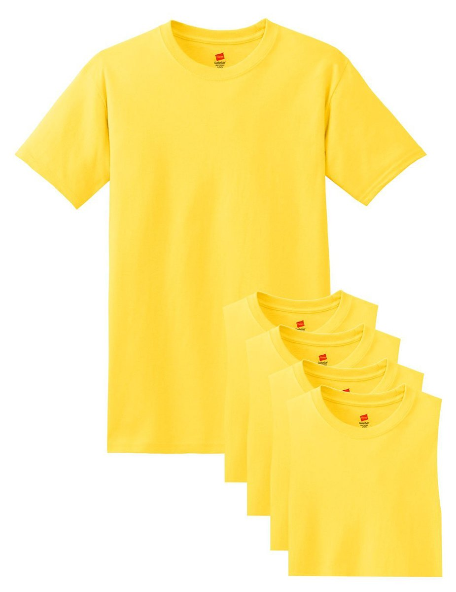 Hanes メンズ Tシャツ ラベルなし 柔らかくて快適 丸首(5枚入り) B015NJQM7M X-Large|イエロー イエロー X-Large