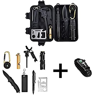 Catwalk Survival Gear Kit with Emergency Bracelet, 11 in 1 Muti-Purpose Outdoor Survival Tools Suiting for Hike,Camp,Travel and Adventure by CATWALK
