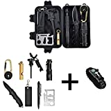 Catwalk Survival Gear Kit with Emergency Bracelet, 11 in 1 Outdoor Tools Suiting Hiking,Camping,Car,Bost, travel trailer for Man, Woman and Kids