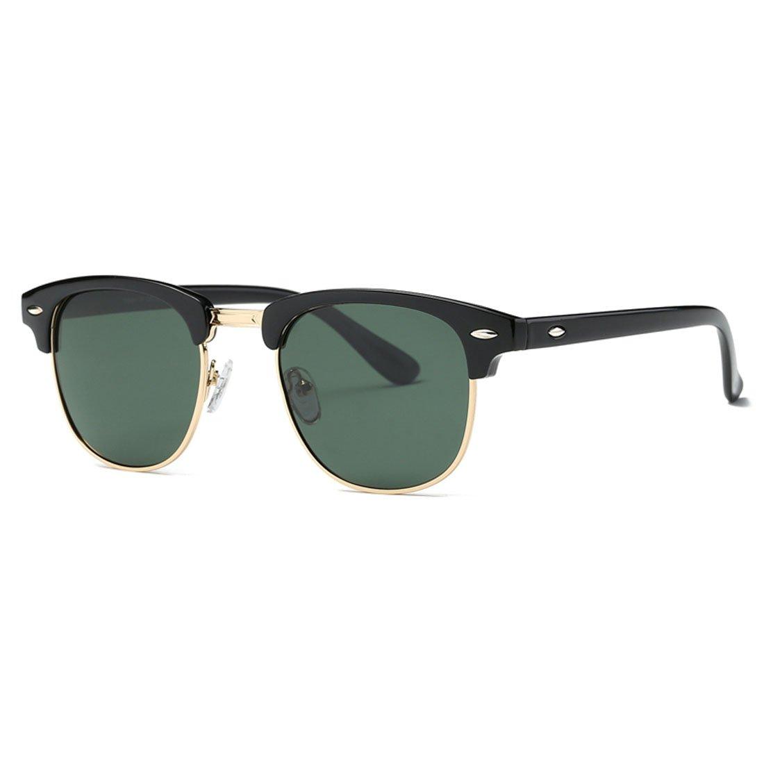 Kimorn Polarized Sunglasses Unisex Retor Semi-Rimless Frame Sun Glasses K0550 K0550~1