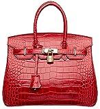 Cherish Kiss Padlock Bag Women Crocodile Leather Top Handle Handbags (30cm Croco Red)