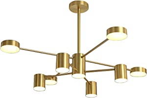 Hsyile KU300242 Modern Style Indoor Chandelier Light Fixtures,for Dining Room,Living Room,Kitchen,Office,Café,Restaurant,with Light Source - Brass Finish