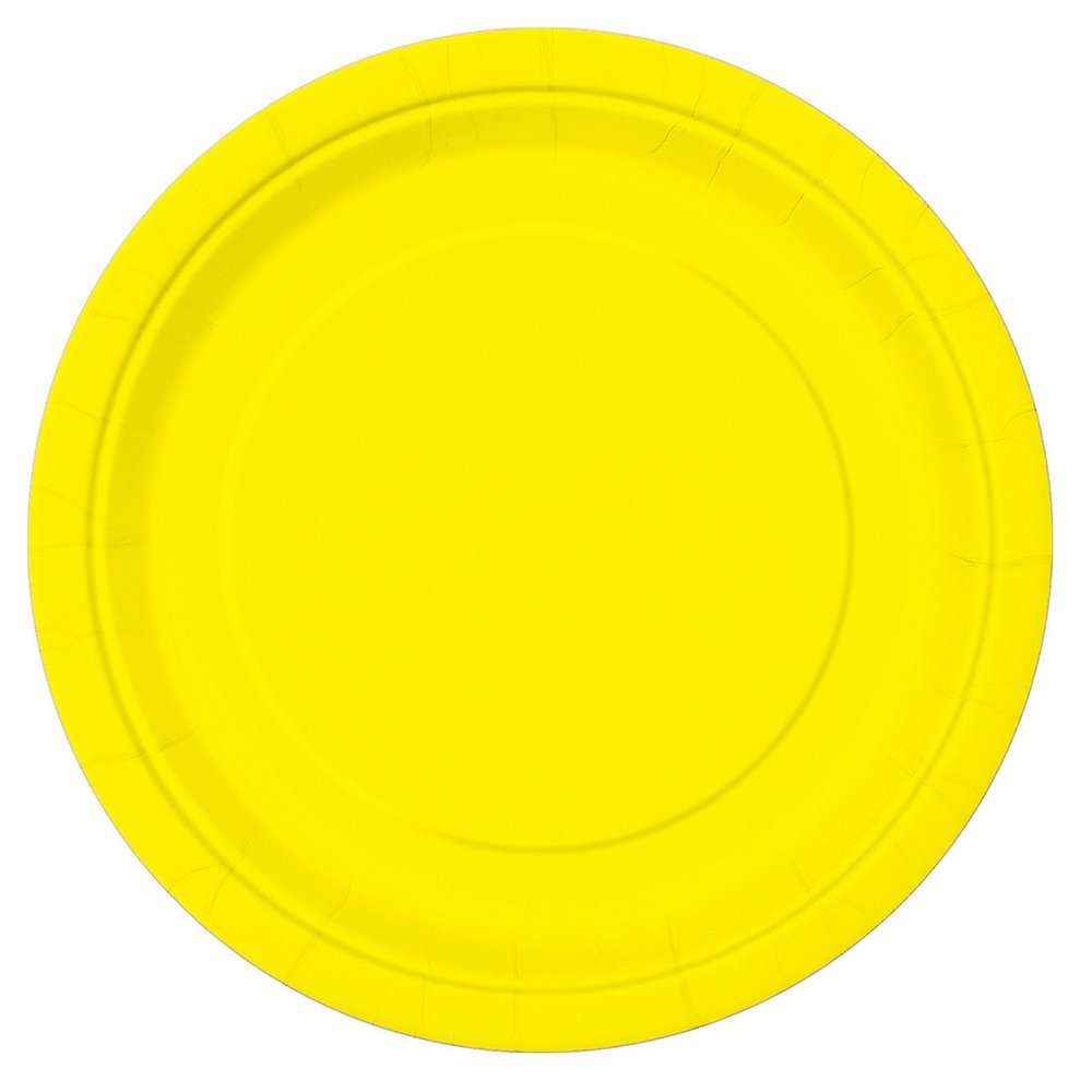 Unique Party Paquete de 16 platos de papel Color amarillo ne/ón 23 cm 99155