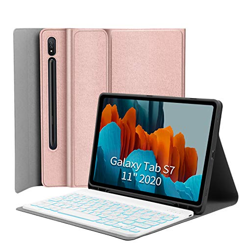 """Backlit-Keyboard Case for Samsung-Galaxy-Tab S7 11 - JUQITECH Smart Case with Backlit Keyboard for Galaxy Tab S7 11"""" SM-T870/T875 2020 Tablet Detachable Wireless Keyboard Cover with S Pen Holder, Pink"""