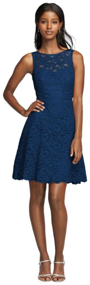 David's Bridal Short Sleeveless All Over Lace Bridesmaid Dress Style F18031, Marine, 12