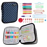 Teamoy Ergonomic Crochet Hooks Set, Travel Organizer Case with 9pcs 2mm to 6mm Soft Grip Crochet Hooks and Accessories, Compact and All in One, Perfect Size for Quick Grab-and-Go