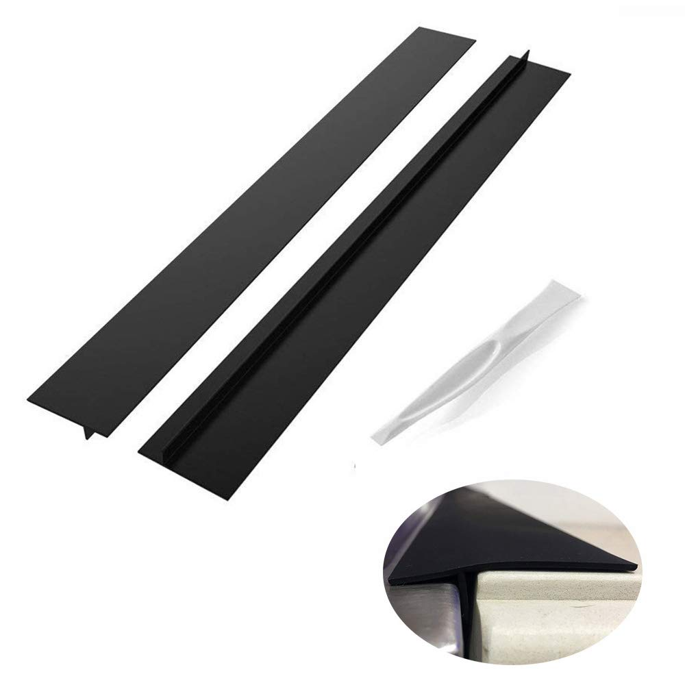 Lengthened 25 Inch Kitchen Silicone Stove Counter Gap Cover, Set of 2 Black,Easy Clean Heat Resistant Stove Gap for Kitchen Counters & Appliances