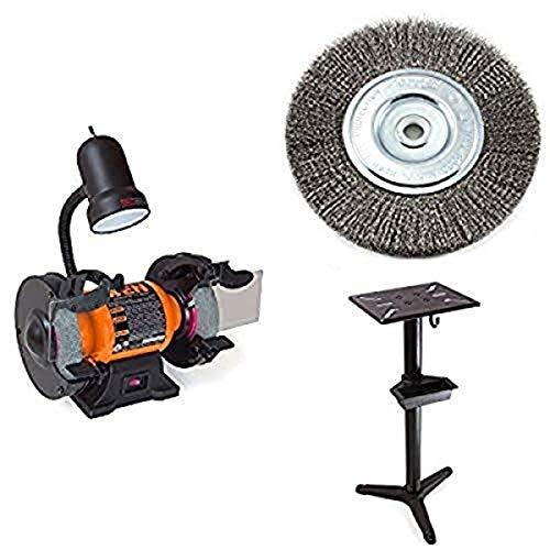 WEN 4276 Amoladora de banco de 6 pulgadas con cepillo de rueda de banco de alambre y soporte de pedestal