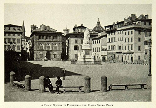 1902 Print Piazza Santa Croce Firenze Florence Public Square Italy Historic BVM1 - Original Halftone Print by...