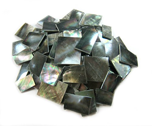 Size Pieces by Black Sea Green Abalone Paua Shell. One Side Polished. For Mosaic Art Tiles, Musical Instrument Inlay Jewelry Design. (2oz - Irregular Cut, Black Abalone) ()