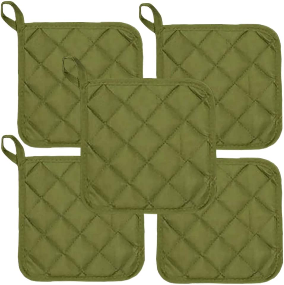 """Sage Green Heat Resistant Pot Holders 6.5"""" Square Solid Color (Pack of 10) 