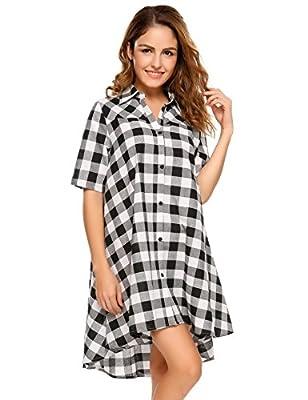 BEAUTYTALK Womens Summer Short Sleeve High Low Swing Loose Casual Midi T-shirt Dress