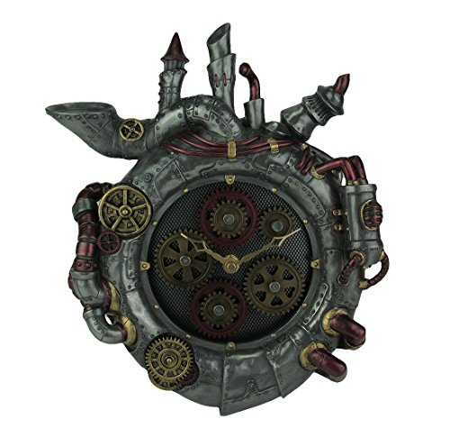 Veronese Design Magnum Opus Steampunk Style Wall Clock with Moving Gears 3