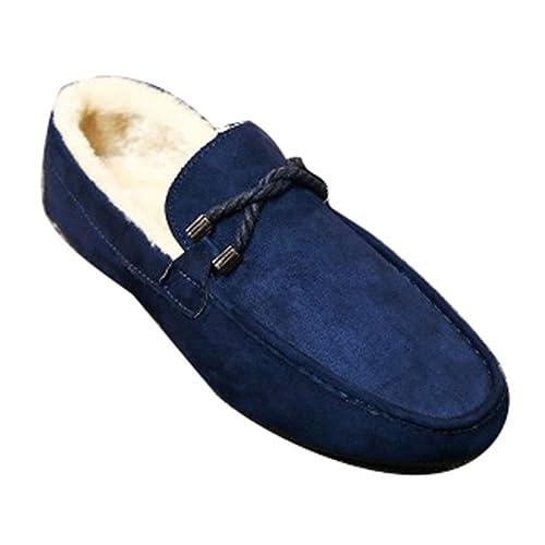 Hibote Uomo Mocassini Pantofole Ragazzi Loafers Scamosciati Invernali Caldo Mocassino Foderato in Lana d'Agnello Scarpe Casual Slipper Nero Rosso