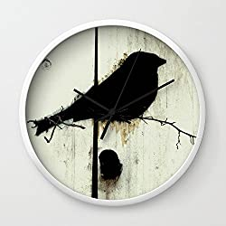 Society6 Early Bird - JUSTART Wall Clock White Frame, Black Hands