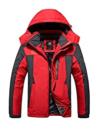 Hengjia Mens Plus Size Outdoor Coat Waterproof Winter Jacket with Detachable Hood