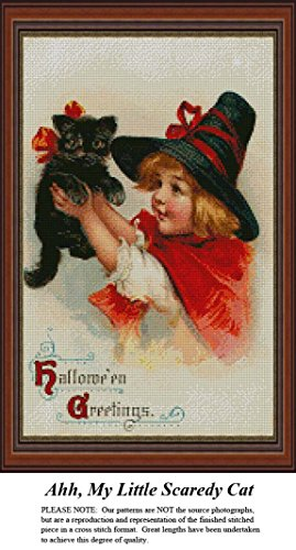 Halloween Cross Stitch Patterns Online (Ahhhh, My Little Scaredy Cat, Halloween Counted Cross Stitch Pattern (Pattern Only, You Provide The Floss and)