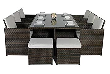 Giardino rattan large glass dining table cube set with highback