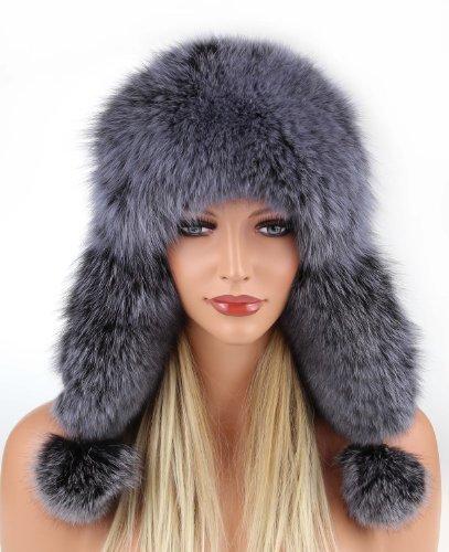 Damen Pelzmütze mit echt Fell Fellmütze Fuchs Leder MÜTZE Fliegermütze Wintermütze Skimütze Uschanka Hut Fox