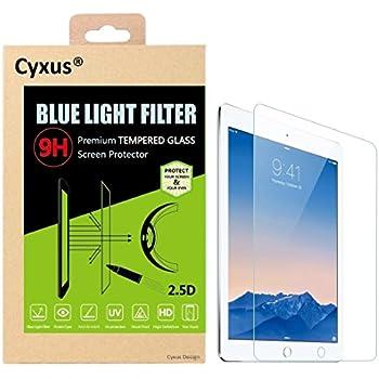 Cyxus Blue Light UV Filter [Anti Eyestrain] 9H Tempered Glass Screen Protector for Apple iPad 1/2/3/4 (iPad4th/3rd/2nd/1st Generation)