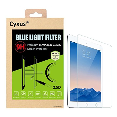 Cyxus Blue Light UV Filter [Anti Eyestrain] 9H Tempered Glass Screen Protector for Apple iPad 1/2/3/4 (iPad4th/3rd/2nd/1st Generation)